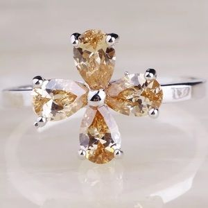 ❤️gorgeous morganite gemstone flower silver ring